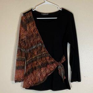 Adorable black and multi colored lace tunic.